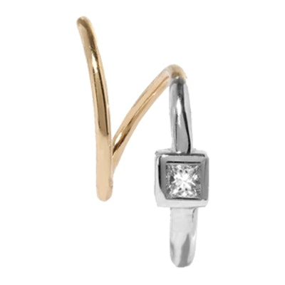 Ava Blanc Twirl 18-Karat Gold, Rhodium-Plated and Diamond Earring