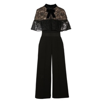 Paisley Velvet-Trimmed Embroidered Tulle and Crepe Jumpsuit
