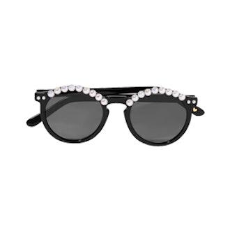Tara Round-Frame Embellished Acetate Sunglasses
