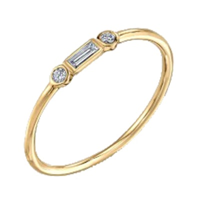 Yellow-Gold And Diamond Baguette & Bezel Ring