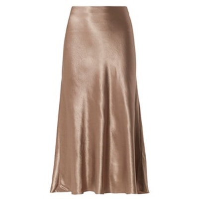Satin Midi Flare Skirt
