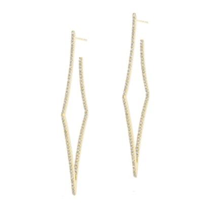 14KT Yellow Gold Diamond Web Wishbone Earrings