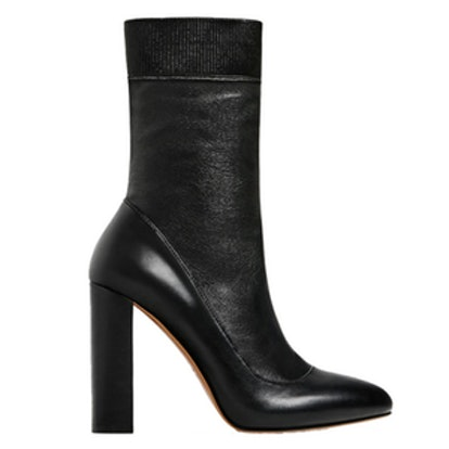 High Heel Stretch Leather Ankle Boots