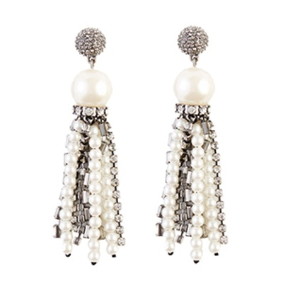 Crystal Pearlized Tassel Earrings