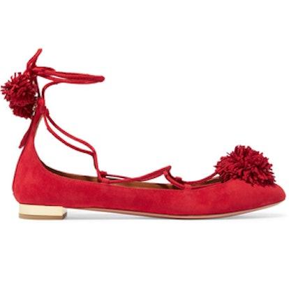 Sunshine Pompom-Embellished Suede Ballet Flats