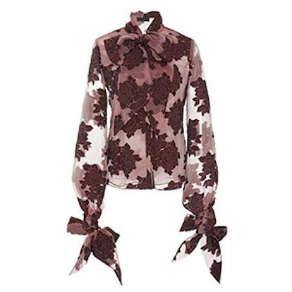 Velvet Embroidered Bow Shirt
