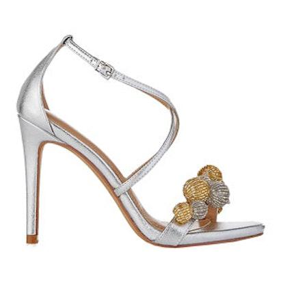Sequin Pom Heeled Sandal