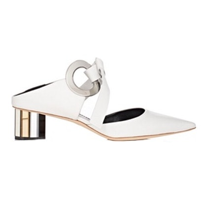 Double-Grommet Leather Mules