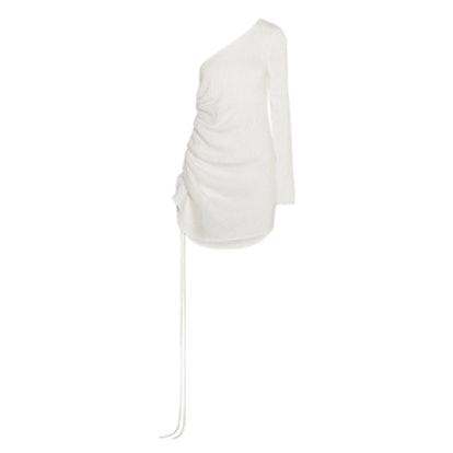 One-Shoulder Ruched Textured-Crepe Dress