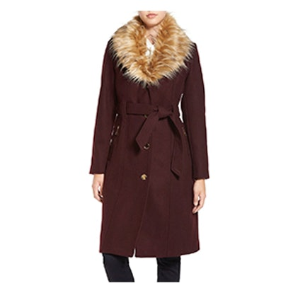 Trench Coat with Faux Fur Trim