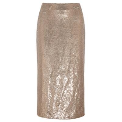 Bump Sequined Twill Midi Skirt