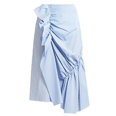 Gingham and Striped Cotton-Poplin Skirt
