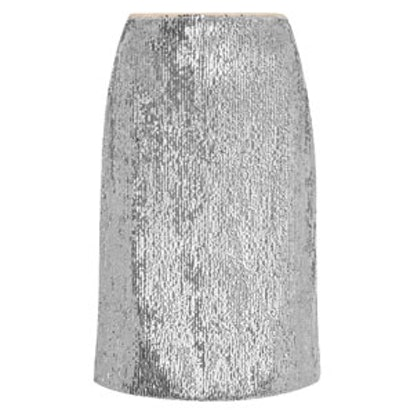 Austen Sequined Crepe de Chine Pencil Skirt