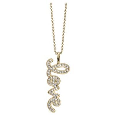 Mini Pave Love Charm Necklace