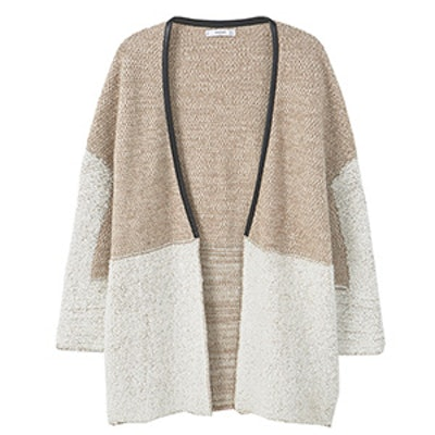 Contrasting Wool-Blend Cardigan