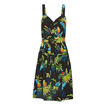 Pleated Printed Cotton-Poplin Midi Dress