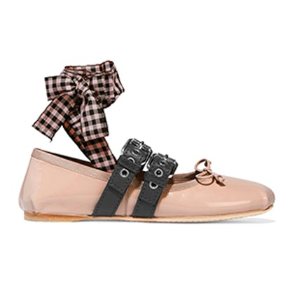 Lace-Up Patent-Leather Ballet Flats