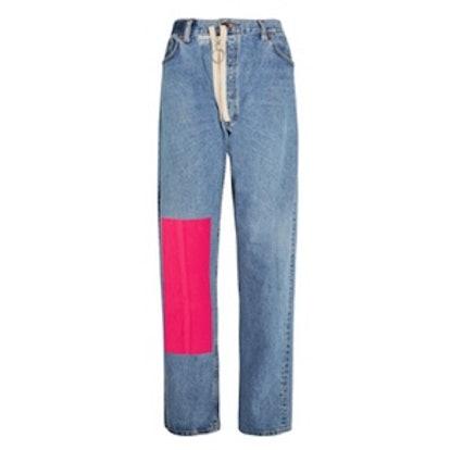 Velvet-Paneled Distressed High-Rise Boyfriend Jeans