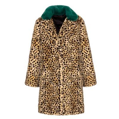 Green Collar Leopard Faux Fur Coat