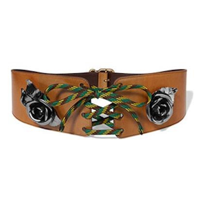 Embellished Lace-Up Leather Waist Belt