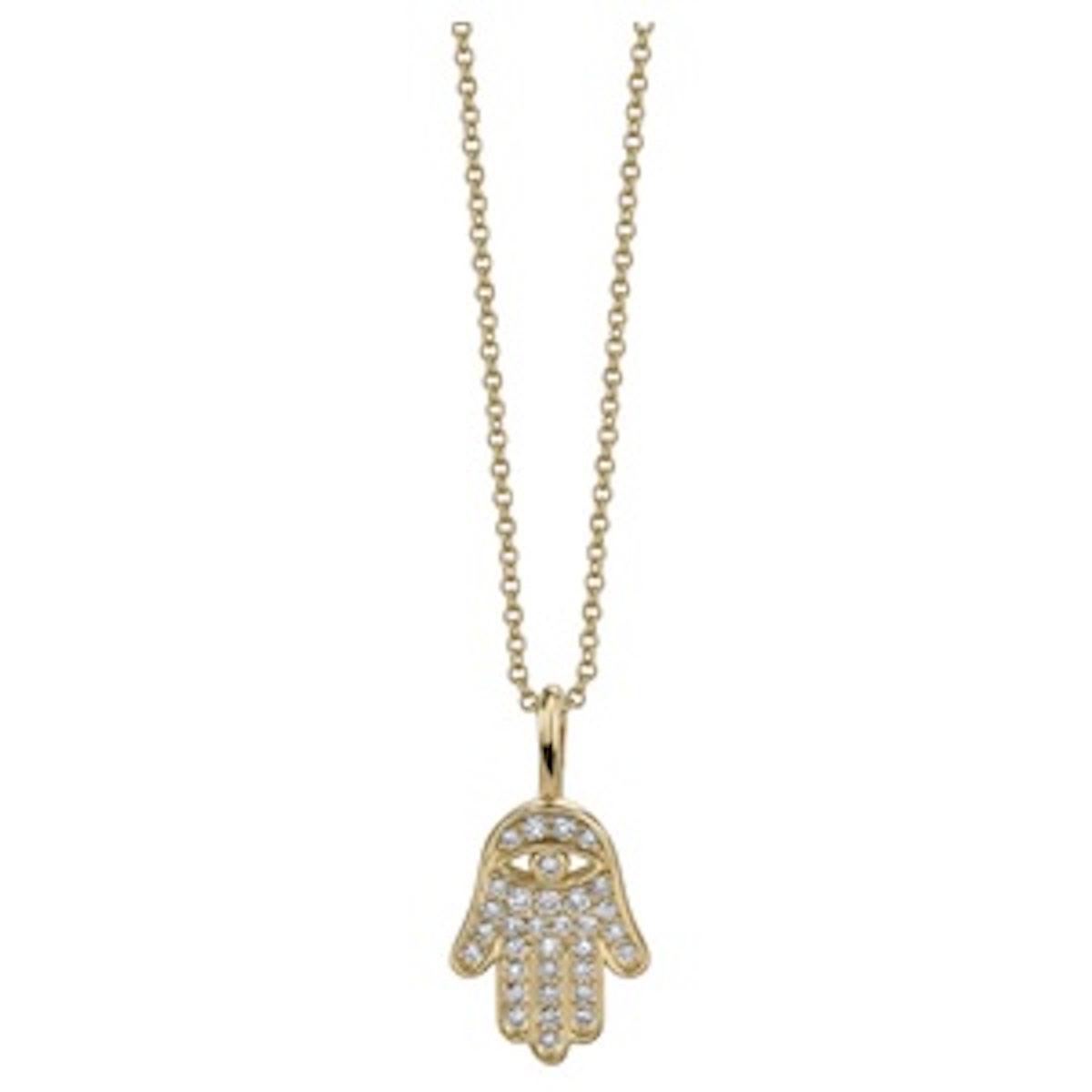 Mini Hamsa Pavé Diamond & 14K Yellow Gold Pendant Necklace