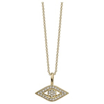 Small Pavé Evil Eye Diamond & 14K Yellow Gold Pendant Necklace