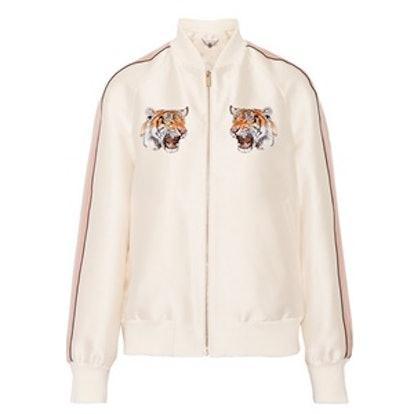 Lorinda Embroidered Duchesse-Satin Bomber Jacket