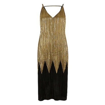 Black and Gold Pleated Midi Dress