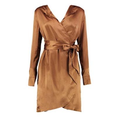 Satin Wrap Shirt Dress