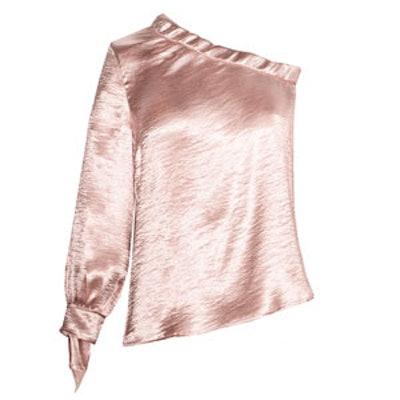 Satin One-Shoulder Blouse