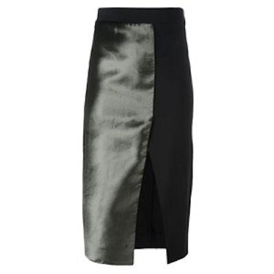 Split Front Satin Skirt