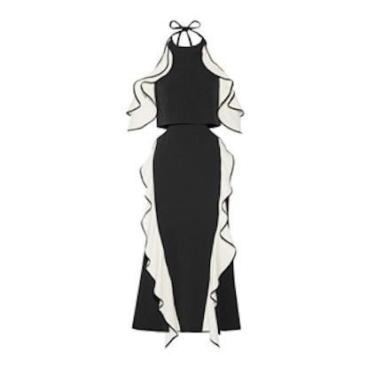 Cutout Ruffled Crepe Halterneck Midi Dress