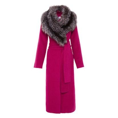 Fox-Fur Collar Wrap Coat