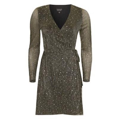 Bling Wrap Plisse Dress
