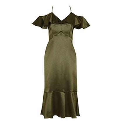 Satin Frill Midi Dress