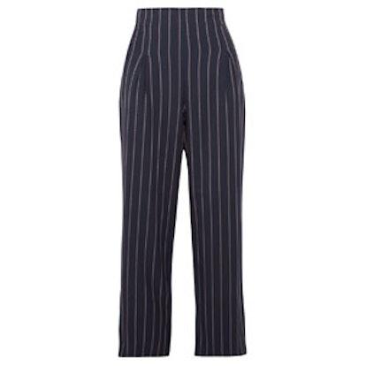 Oakwood Cropped Pinstriped Stretch-Crepe Wide-Leg Pants