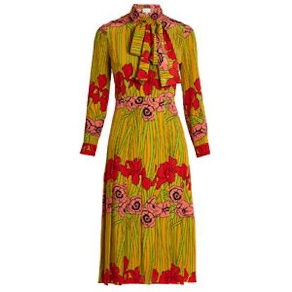 Iris And Poppy-Print Silk Dress