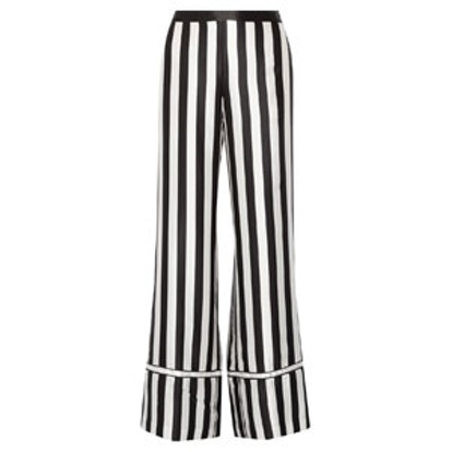 Striped Silk-Satin Wide-Leg Pants