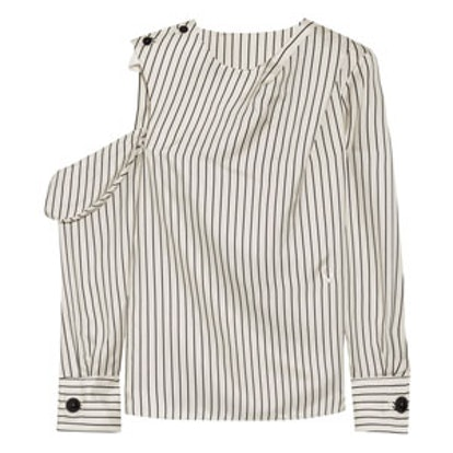 One-Shoulder Pinstriped Silk-Twill Blouse