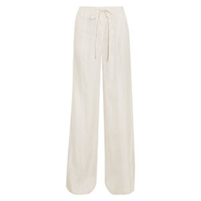 Pintucked Satin Wide-Leg Pants
