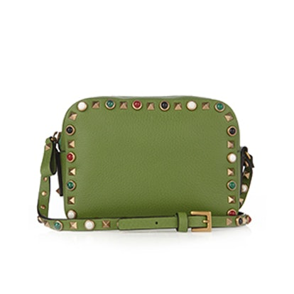 Rockstud Rolling Leather Camera Cross-Body Bag