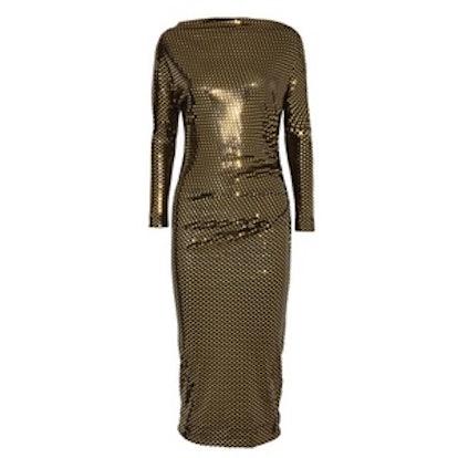 Draped Metallic Printed Midi Dress