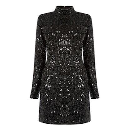 High Neck Sequin Midi Dress