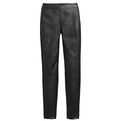 Vegan Leather-Front Leggings
