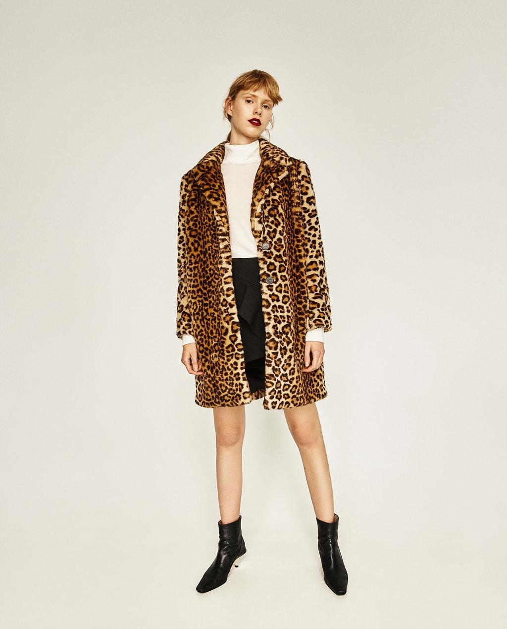 6123e0c0c79f Cheetah Print Faux Fur Coat Gap Leopard 3 4 Sleeves