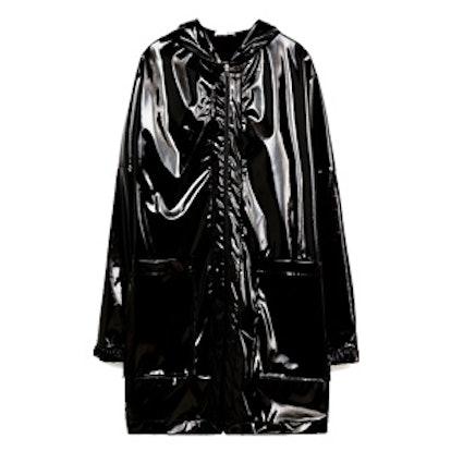 Black Patent Effect Raincoat
