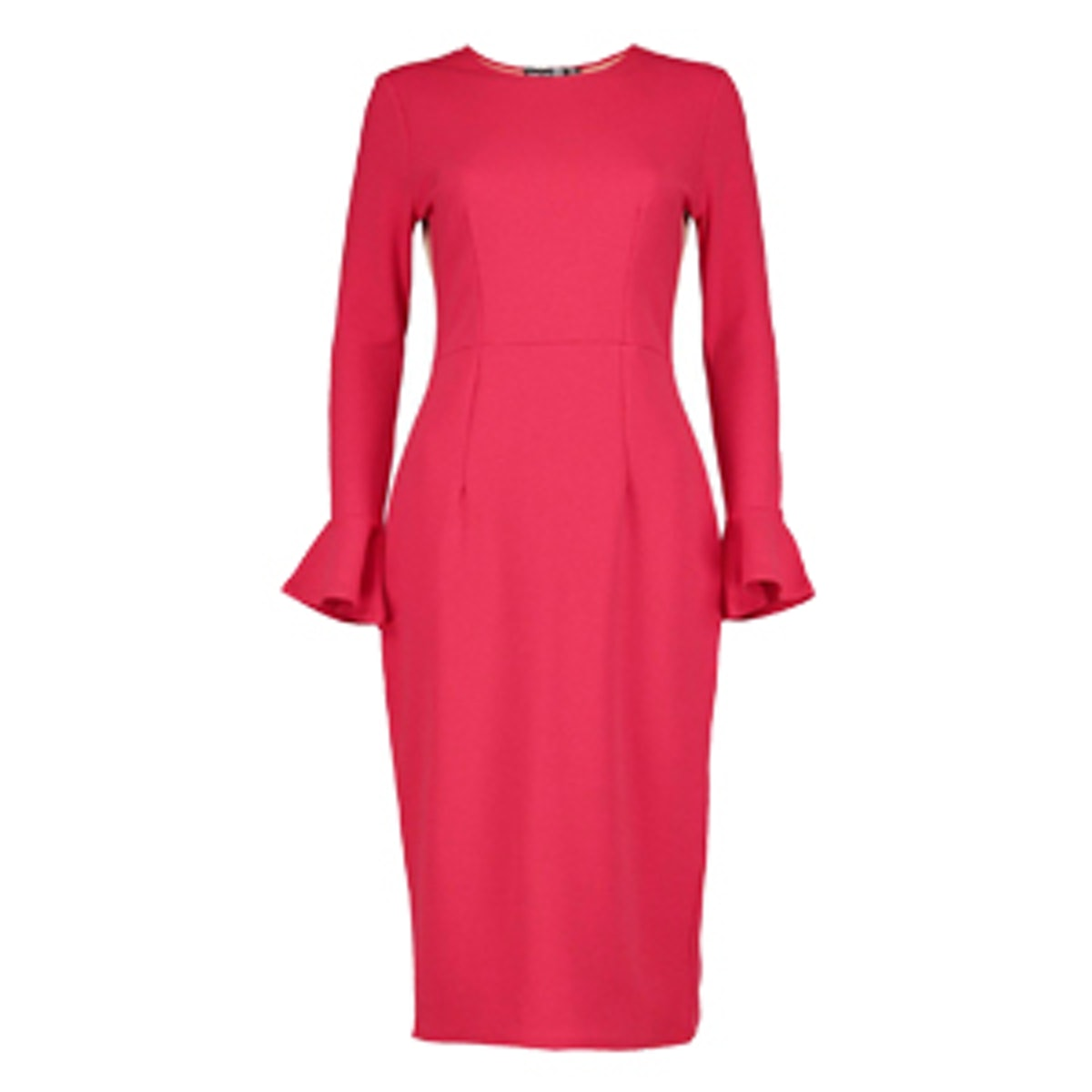 Marielle Frill Sleeve Fitted Midi Dress