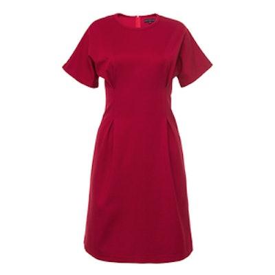 FRS Red Waist Gathered Dress With Raglan Sleeve