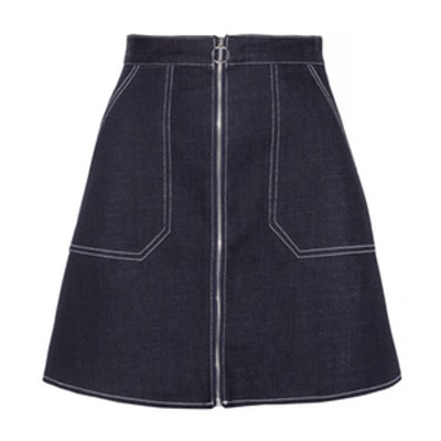 Ring Zipper Denim Pocket Skirt