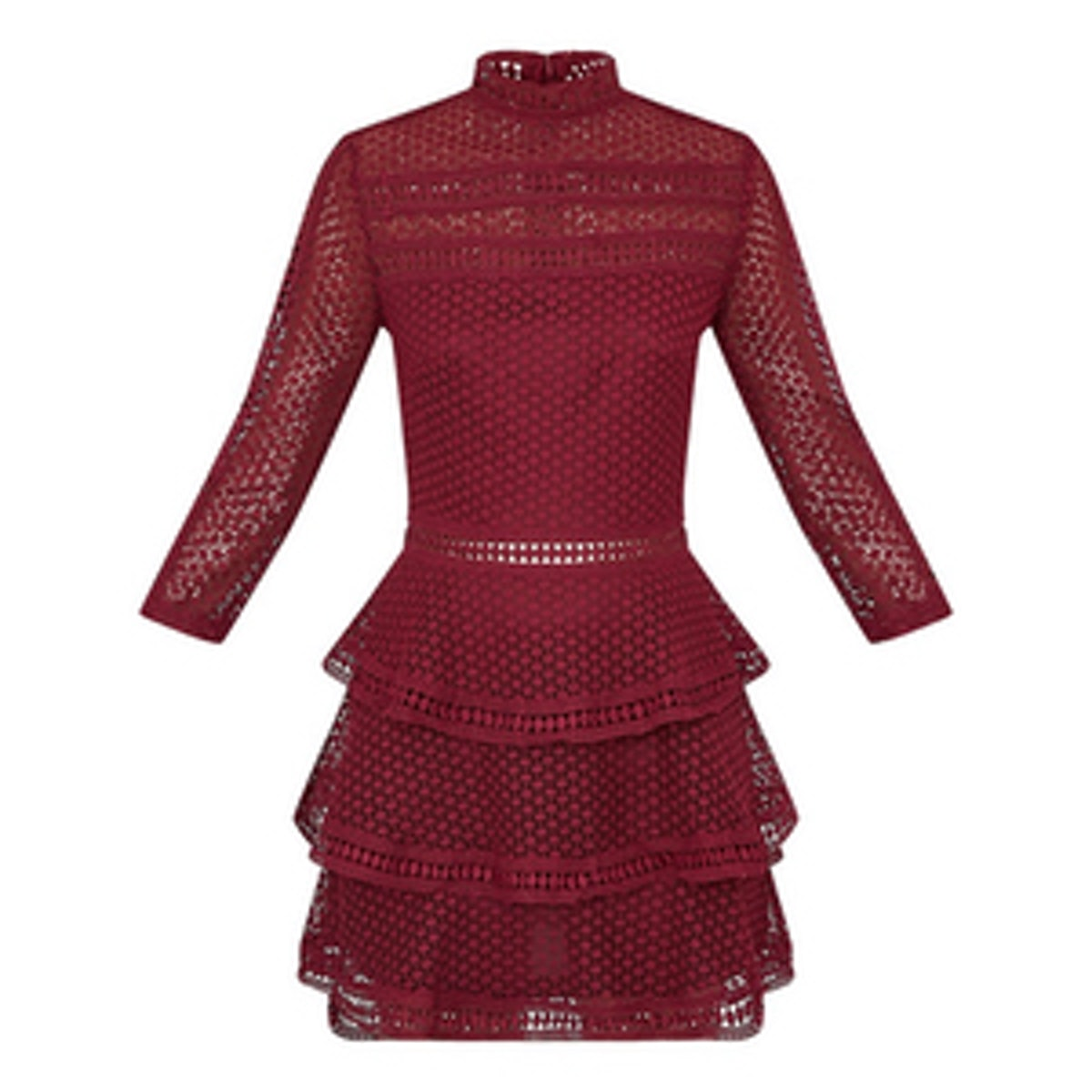 Caya Berry Lace Panel Tiered Mini Dress